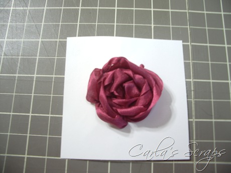 Цветок из ленты на открытку