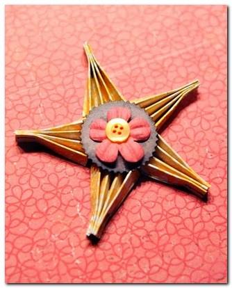 Скрапбукинг - Бумажная звезда из маленьких вееров